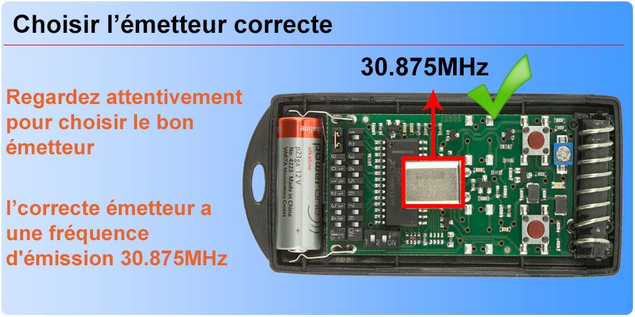 Choisir l'émetteur correcte